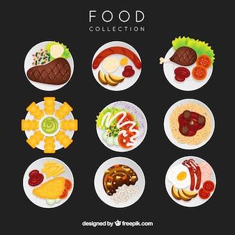 Coleção de pratos com comida em vista superior