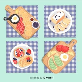 Coleção de pratos de café da manhã