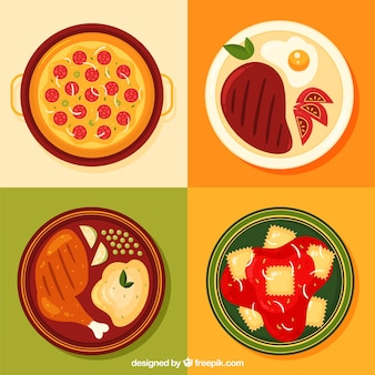Coleção de pratos de comida com design plano