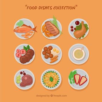 Coleção de pratos de comida com vista superior