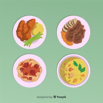 Coleção de pratos de comida deliciosa