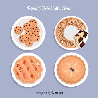 Coleção de pratos de comida doce