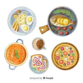 Coleção de pratos de comida em aquarela
