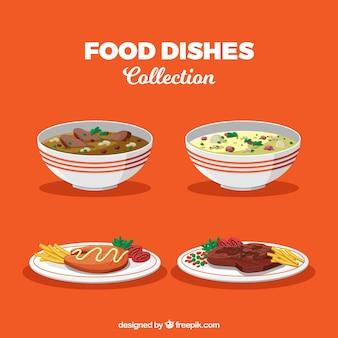 Coleção de pratos de comida em estilo 2d