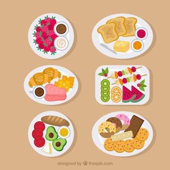 Coleção de pratos de comida em vista superior