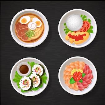Coleção de pratos de comida japonesa da ásia