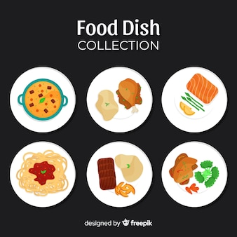 Coleção de pratos de comida plana