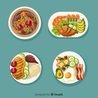 Coleção de pratos de comida saborosa