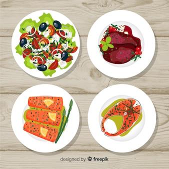 Coleção de pratos de comida