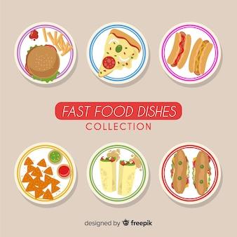 Coleção de pratos de fast food