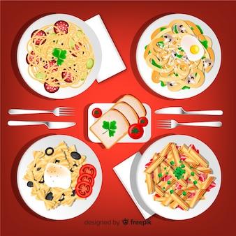 Coleção de pratos de massa