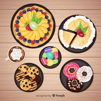 Coleção de pratos doces realista