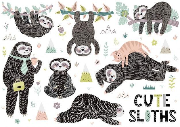Coleção de preguiças dormindo bonito com montanhas, plantas e flores