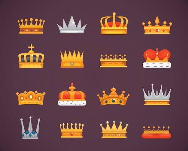 Coleção de prêmios s coroa para vencedores, campeões, liderança. rei real, rainha, coroas de princesa.
