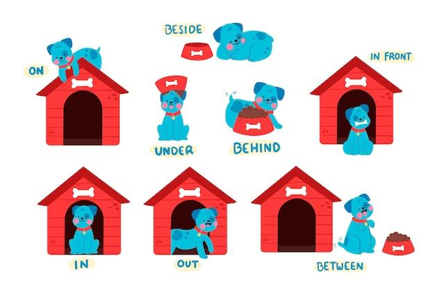 Coleção de preposições inglesas com cachorro