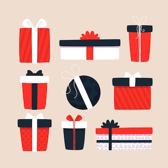 Coleção de presente de natal desenhada à mão
