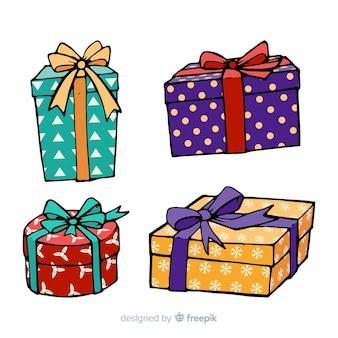 Coleção de presente de natal desenhada de mão