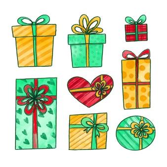 Coleção de presente de natal em aquarela
