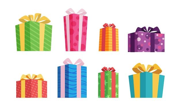 Coleção de presente de natal em design plano