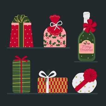 Coleção de presentes de natal de design plano