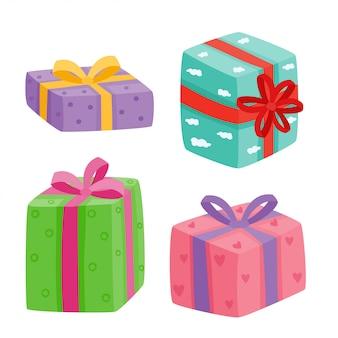 Coleção de presentes de natal. ilustração de presentes dos desenhos animados, isolado no branco