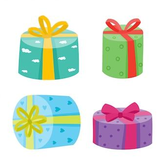 Coleção de presentes de natal ou aniversário.