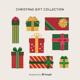 Coleção de presentes de natal plana