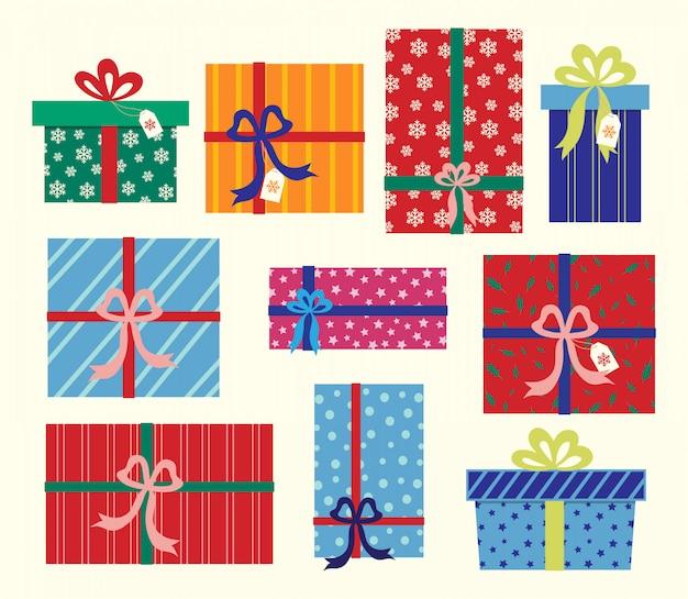 Coleção de presentes de natal