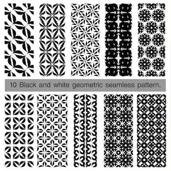Coleção de preto e branco padrão geométrico sem emenda.