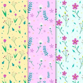 Coleção de primavera colorida plana padrão
