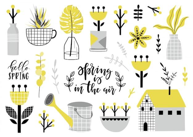 Coleção de primavera com flores.