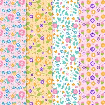 Coleção de primavera padrão em design plano