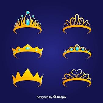Coleção de princesa tiara dourada plana