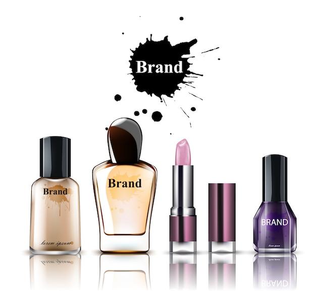 Coleção de produtos de aquarela de cosméticos