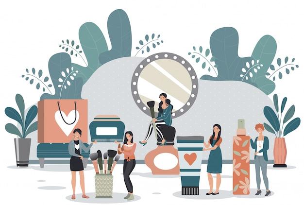 Coleção de produtos de beleza de mulher, pessoas pequenas com cosméticos e itens de maquiagem, ilustração