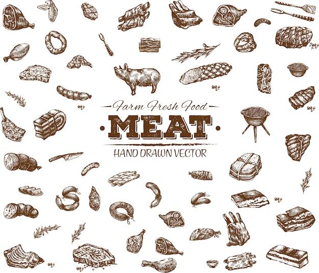 Coleção de produtos de carne desenhada à mão