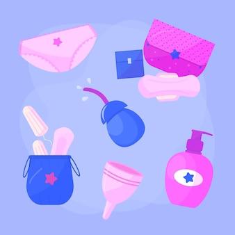 Coleção de produtos de higiene feminina