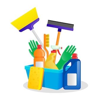 Coleção de produtos de limpeza de superfícies