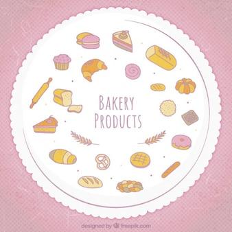 Coleção de produtos de padaria bonito