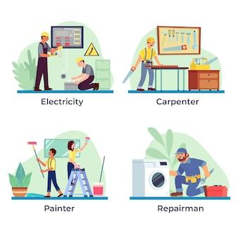 Coleção de profissões domésticas e de renovação