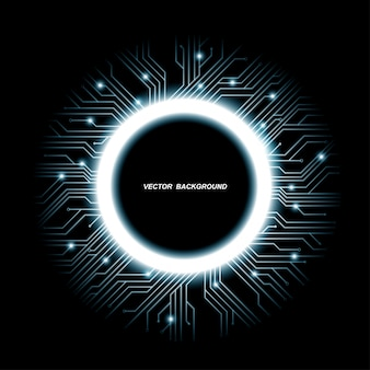 Coleção de projetos de microchips, cpu. elementos de tecnologia de comunicação de informação com brilhos, placas de circuito luminescentes azuis em forma de círculo, ilustração