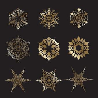 Coleção de projetos do floco de neve decorativo do ouro