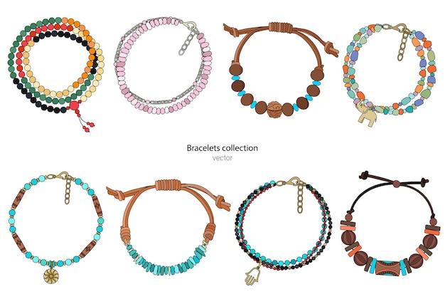 Coleção de pulseiras artesanais em estilo étnico. ilustração a cores isolada em um fundo branco.