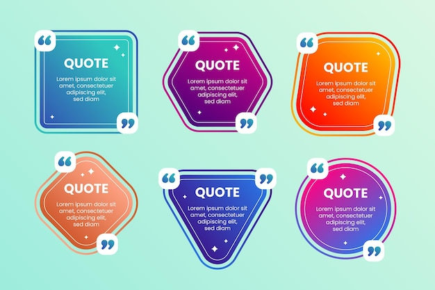 Coleção de quadro de caixa de citação de gradiente