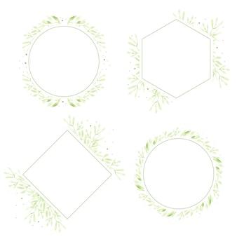 Coleção de quadro de coroa de folhas verdes aquarela para logotipo