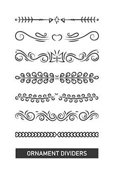Coleção de quadro de divisores de ornamento simples em fundo branco.