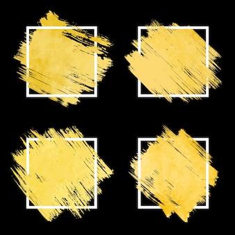 Coleção de quadro de traçado de pincel dourado abstrato com borda branca.