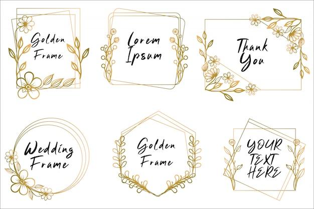 Coleção de quadro floral dourado de mão desenhada