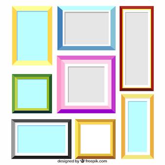 Coleção de quadros coloridos planos