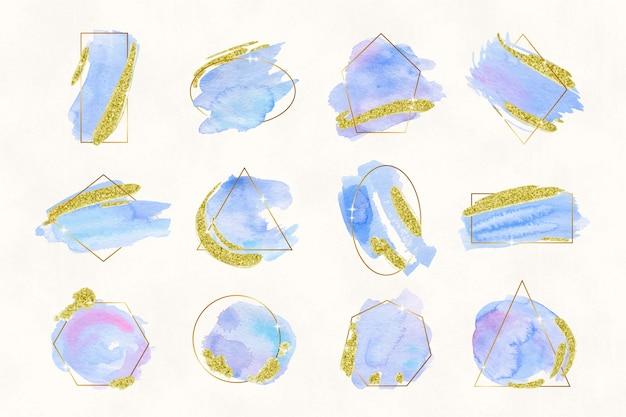 Coleção de quadros de brilho com pinceladas de aquarela